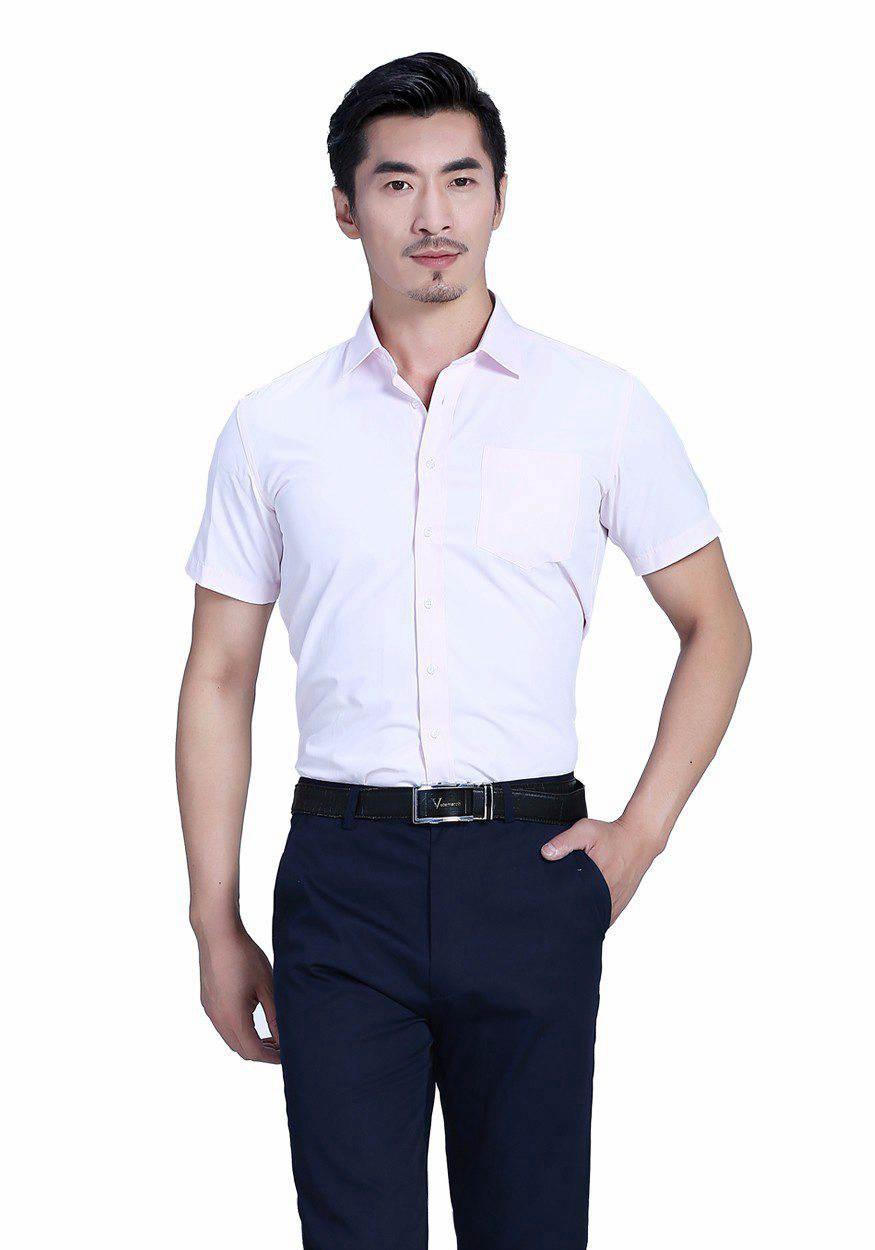2019奇亿平台粉色全棉商务短袖衬衫