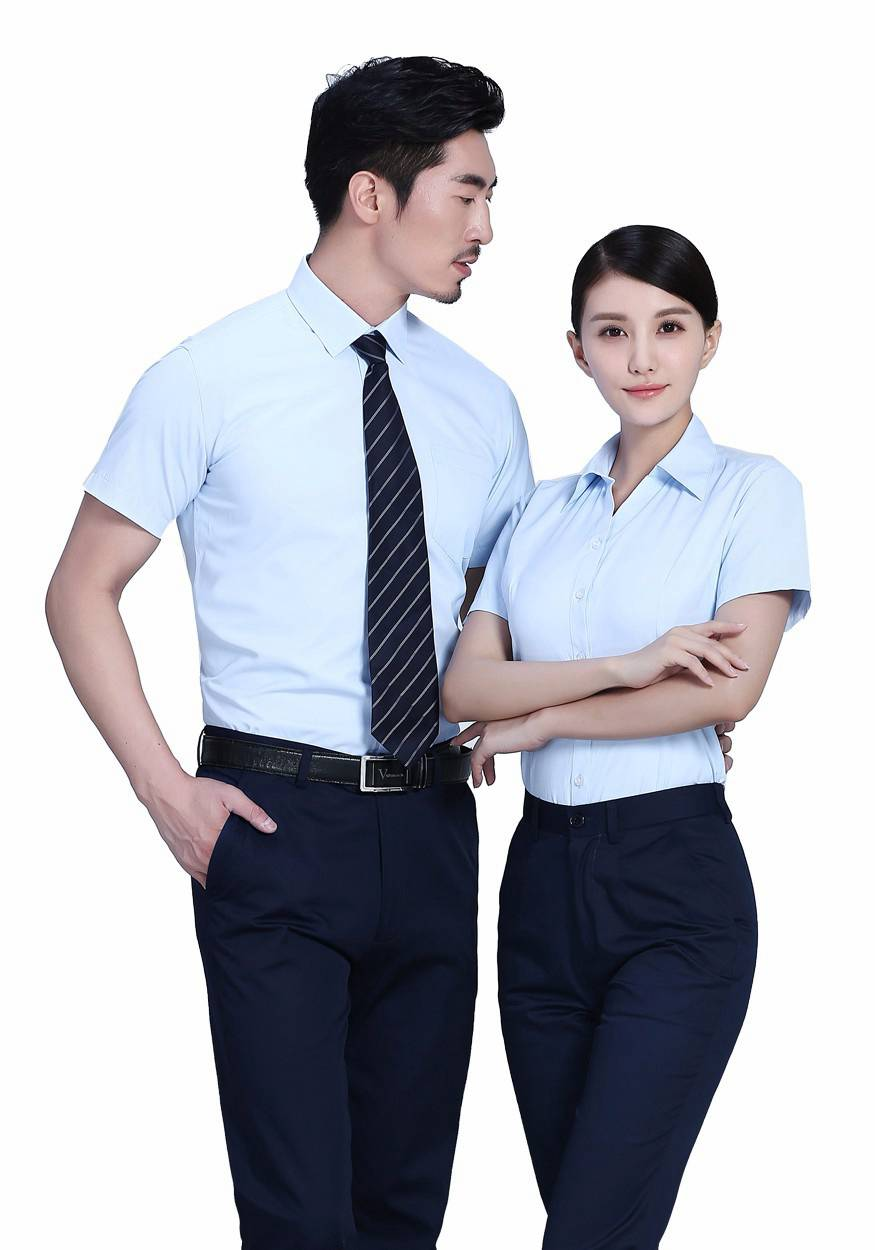 2019奇亿平台浅蓝商务短袖衬衫
