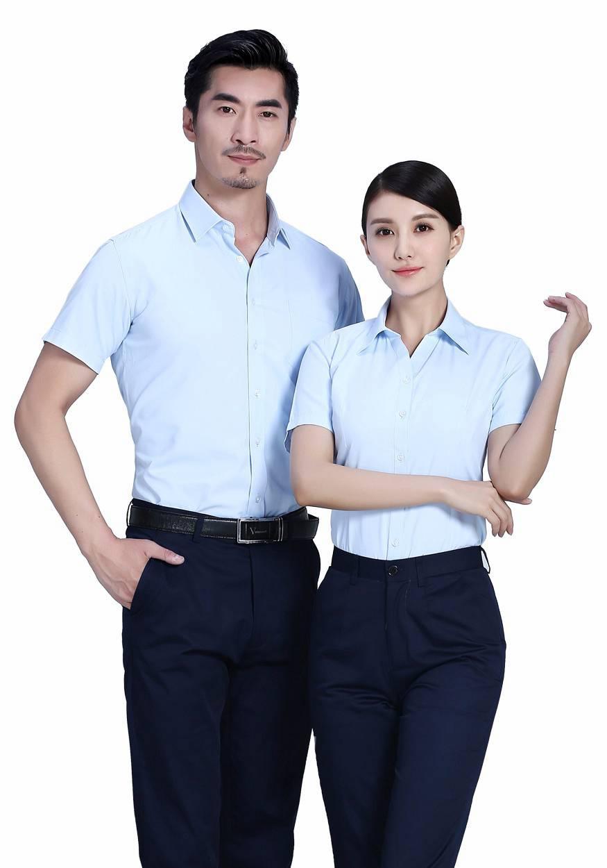 2019奇亿平台衬衫浅蓝男浅蓝商务短袖衬衫